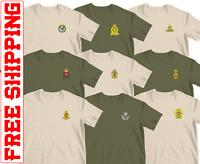 Embroidered Cap badge Army Tshirt REME  RE PWRR AGC AAC RHA RIFLES RLC AAC IC