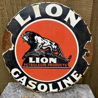 "VINTAGE LION PETROLEUM PORCELAIN SIGN GASOLINE LUBE PETROL 6"" OIL GAS STATION"