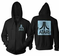 Adult Black Video Game Console Atari Square Logo Back & Chest Zip Up Hoodie