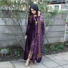 Bollywood Designer Indian pakistani long velvet kameez brocade pant shawl size L