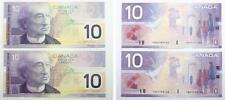 2 Bank of Canada 2001 Series $10.00 / Ten Dollars Banknotes - EF to AU