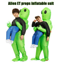 Green Alien Carrying Human Costume Inflatable Funny Blow Up Suit Cosplay Party