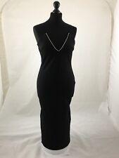 Missguided Black Scuba Diamante Dress Size 12
