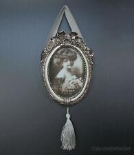 Barock Bilderrahmen Fotorahmen zum Aufhängen Oval Silber Weiß Rokoko Stil Antik
