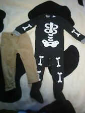 boys beige trousers and skeleton/halloween babygrow age 12-18 months