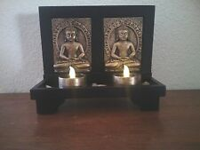 TWO BUDDHAS WITH LED TEALIGHT CANDLES