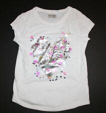 Siguiente NUEVO GB Blanco Lentejuelas Corazón Brillos Camiseta Size 8 o 128cm