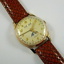 Zodiac Triple Date Moon Phase Wristwatch Zodiac 12s Manual 42h 33mm Y.G. Plated
