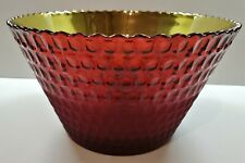 2 Tone Ruby Red Glass Bowl With Indentions Design Gold Interior Home Decor Gift