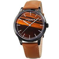 Men's Akribos XXIV AK937TN Genuine Brown Tiger Eye Stone Leather Strap Watch