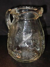 ANTIQUE LARGE GLASS CREAMER / MILK PITCHER WITH LEAVES AND CHERRY ACENT
