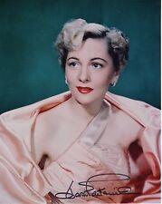 Joan Fontaine Hand Signed 8x10 Color Photo+Coa Beautiful+Glamorous Actress