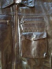 Vintage A2 Flight Leather Jacket Handmade In Italy Size M/L One Of A Kind