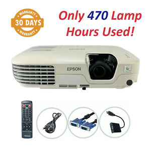 Epson PowerLite S9 3LCD Projector 2500 ANSI HD 1080i - Only 470 Lamp Hours Used!