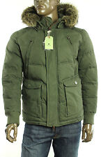 New Mens Jet Lag Olive Faux Fur Hooded Parka Jacket M