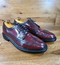 Vintage HANDOVER Burgundy Leather Long Wingtip Derby Shoes Size 10 D/B Made USA
