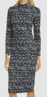 $498 Ted Baker Women Black Gray Stretch Mock-Neck Leopard Bodycon Sheath Dress 2