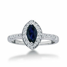 14K WHITE GOLD 1CT MARQUISE BLUE SAPPHIRE AND DIAMOND HALO RING SIZE-7