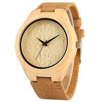 Wooden Watch Men Women Leather Bangle Quartz Wood Watches Bamboo Wrist Bracelet