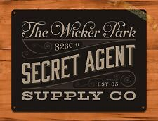 "TIN-UPS TIN Sign ""Secret Agent Suppy Company"" Vintage Shop Ad Garage Store"