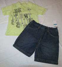 Boys Baby Calvin Klein 2 piece set 24M month polo shirt denim shorts 3672026