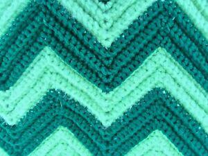 Vintage Chevron Afghan Greens 58x47 Retro