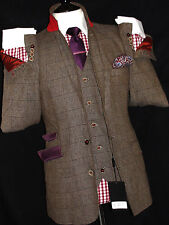 BNWT MENS HOLLAND ESQUIRE PRINCE WALES TWEED 3 PIECE LINEN SUIT 42R W36 X L32