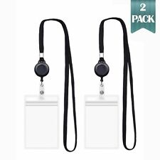 Lifesgoods4u Lanyard with ID Holder Sets (Black,2 Pack) Flat Polyester ID holder