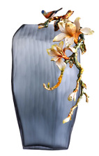 RORO Enameled & Jeweled Crystal Vase Centerpiece with Floral and Bird
