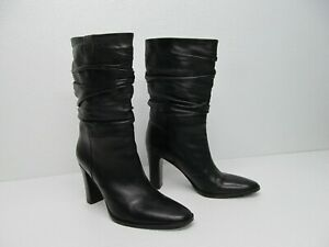 Via Spiga Black Leather Pull On Slouch Heeled Boots Size Women's 8.5M