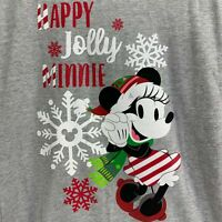Disney Parks Kids Medium Christmas Happy Jolly Minnie Mouse T-Shirt