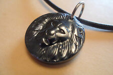 Stunning Chunky Heavy Hematite Lion Black Leather Surf Necklace