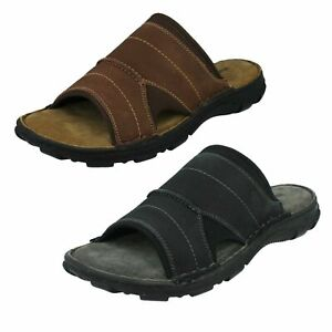 Hommes Hush Puppies Leather Sandales Mules Austin
