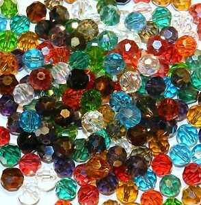 CRB6111 Assorted Color & Finish 8mm Faceted Round Crystal Glass Beads 50pc