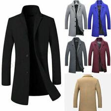 Men's Wool Blends Warm Trench Coat Outerwear Overcoat Long Jackets Coat Winter