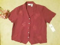 Alfred Dunner NWT Mulberry Button Down Shirt Top Blouse Sz.18 W