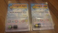 X 2 PACKS LOGO VALVE CAPS. SMILEY FACE & GANJA LEAF. ALUMINIUM WITH RUBBER SEALS