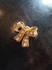 Ribbon Bow Pin Brooch Vintage Gold And Rhinestone