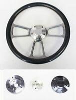 "1964 1965 Chevelle El Camino Carbon Fiber & Billet Steering Wheel 14"" Plain Cap"