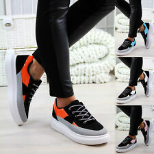 New Womens Casual Flatform Lace Up Trainers Flat Creepers Comfy Shoes Sizes 3-8