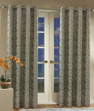 "Aztec Jacquard Curtain Panel with Grommets, Silver, 84"" length, Commonwealth"