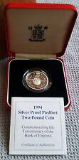 1994 Regno Unito Due Pound Argento Proof Coin Bank of England PIEDFORT, Box/COA/esterno