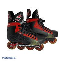 💕 Mission CSX Inline Roller Hockey Skates MENS US Shoe Size 12.5 RED BLACK EUC
