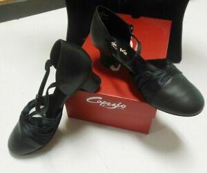 "Capezio 562 HeelFlex Character SHOES BLACK ballrooom shoes 1.5"" T-strap $86"