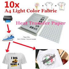 Laser Iron-On Heat Transfer Paper, For Light Fabric 11.7 x 8.3 in - 10 Sheets A4