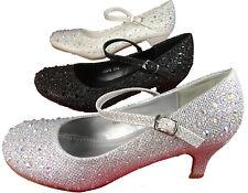 Girls Diamante Party Bridesmaid Kitten Heel Shoes Silver White Black Bling 9-2Uk