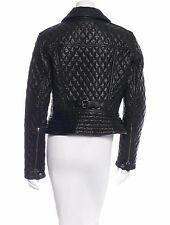 SPECTACULAR NWT SOLD OUT BURBERRY BLACK QUILTED MOTO LEATHER JACKET