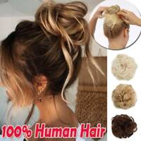 Messy Bun Scrunchie Updo Wrap Remy Human Hair Extension Curly Straight Wavy R117