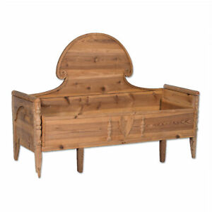 Antique Swedish Pine Bed / Bench With High Arched Back