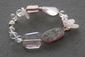 """SILPADA - B2444 - Drusy Quartz Crystal Glass CZ Pyrite """"Gentle Edge"""" Bracelet"""